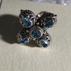 18K/Sterling & Blue Topaz Gemstone Cross Ring